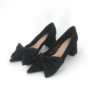 Zara Black Kitten Bow Heel Point Toe Classic Pump